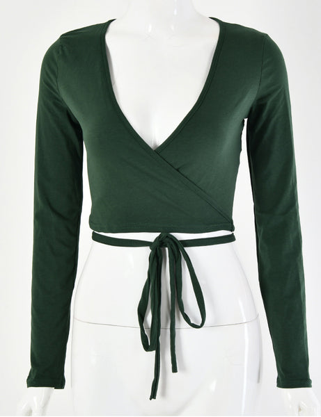 Daisy Wrap Green Top