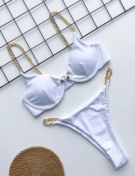 White Gold Chain Love Two Piece Swimsuit