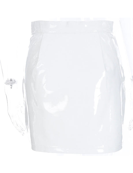 White PU Darling Skirt