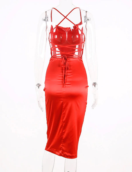 Satin Red Lace Up Midi Dress