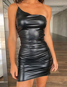 One Shoulder Ruched PU Mini Dress