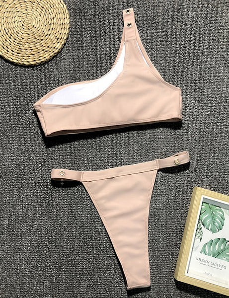 Nude Buckle Strap Two Piece Swimsuit