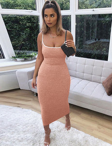 Pink Ribbed Bodycon Midi Dress