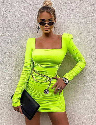 Neon Green Double Lined Square Neckline Dress
