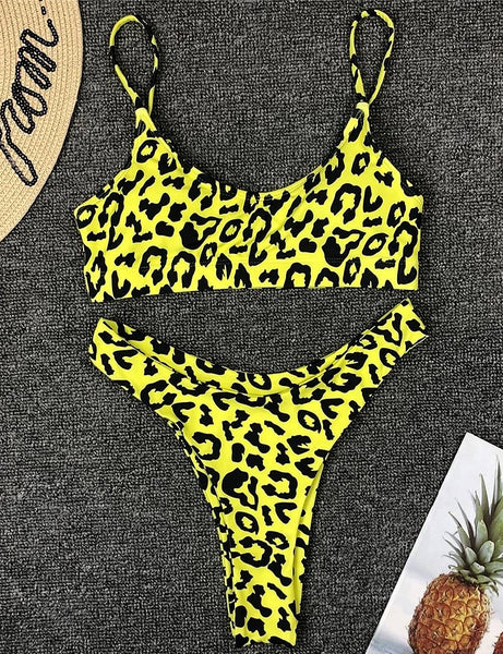 Yellow Leopard Two Piece Swimsuit