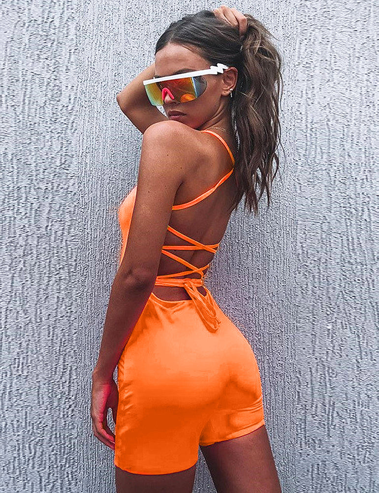 Orange Lace Up Back Playsuit