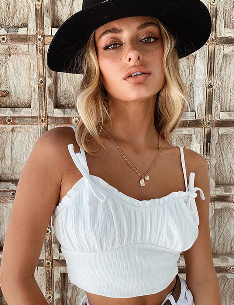 White Ribbed Frill Crop Top