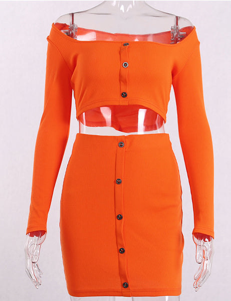 Orange Ribbed Long Sleeve Two Piece Co Ord