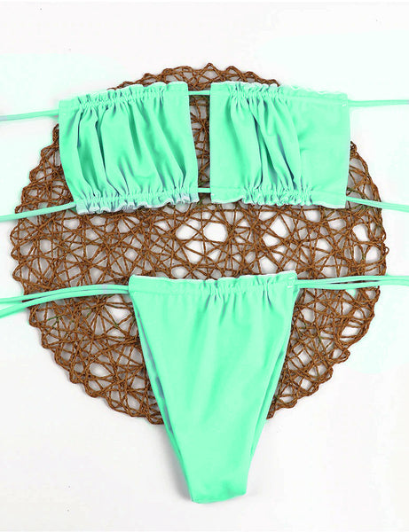 Tied Up Dream Green Two Piece Swimsuit