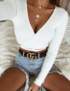 White Ribbed Wrap Top