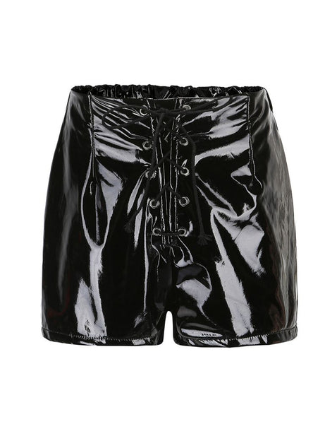 Black Faux Leather Lace Up Shorts