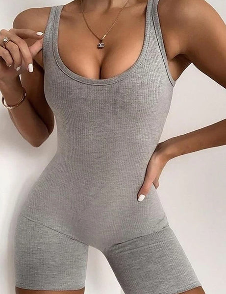 Ribbed Grey Playsuit