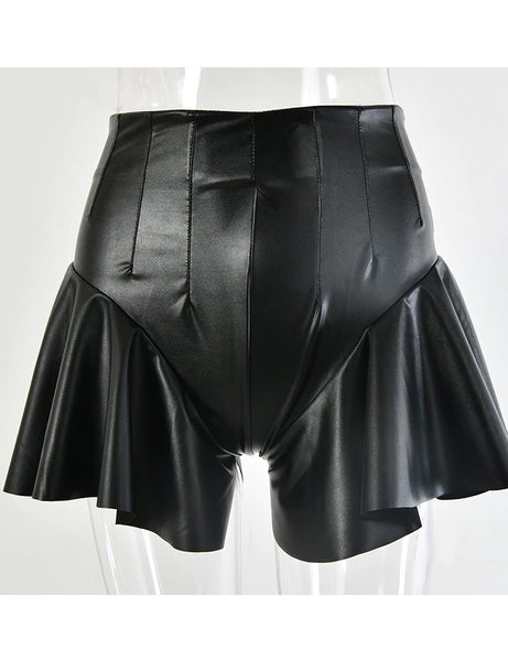 Mira Faux Leather Flare Sides Shorts