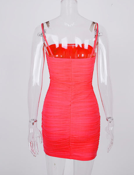 Red LA Dream Ruche Bust Cup Dress