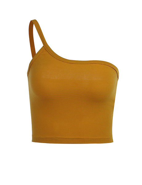 Mustard Ribbed Basic Crop Top