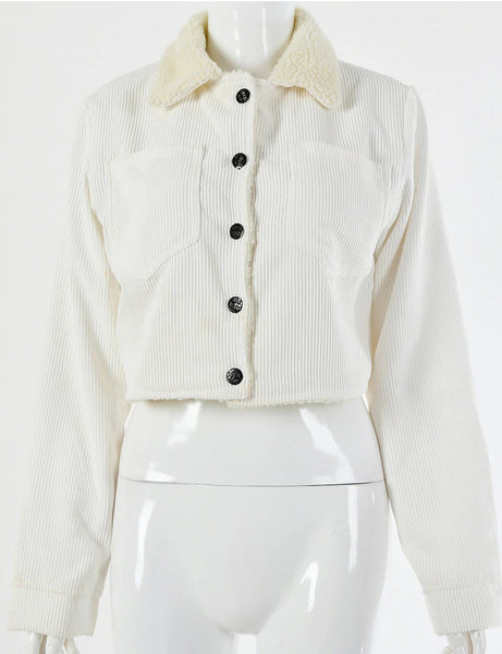 White Ribbed Teddy Collar Trucker Jacket