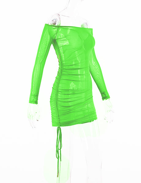 Green Mesh Cover Up Dress