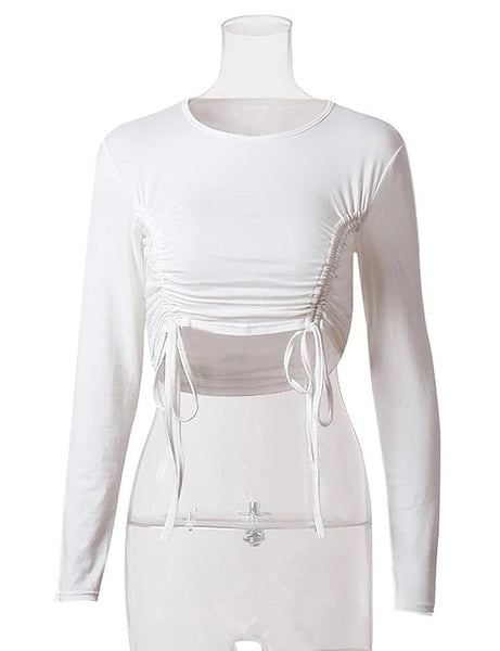 White Ruched Side Crop Top