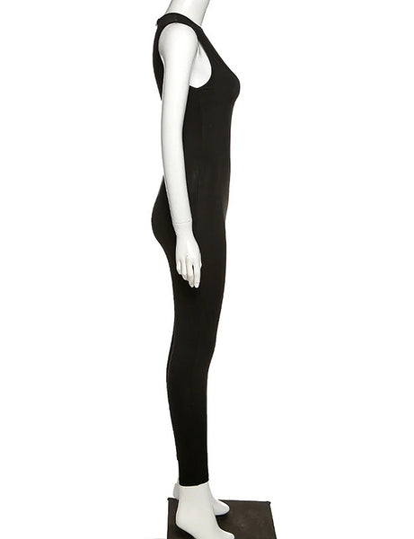 Emma Sleeveless Jumpsuit (White/Black)