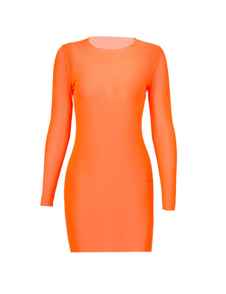 Orange Mesh Cover Up Mini Dress
