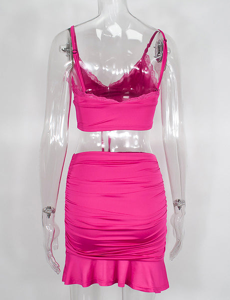 Hot Pink Tied Up Two Piece Co Ord