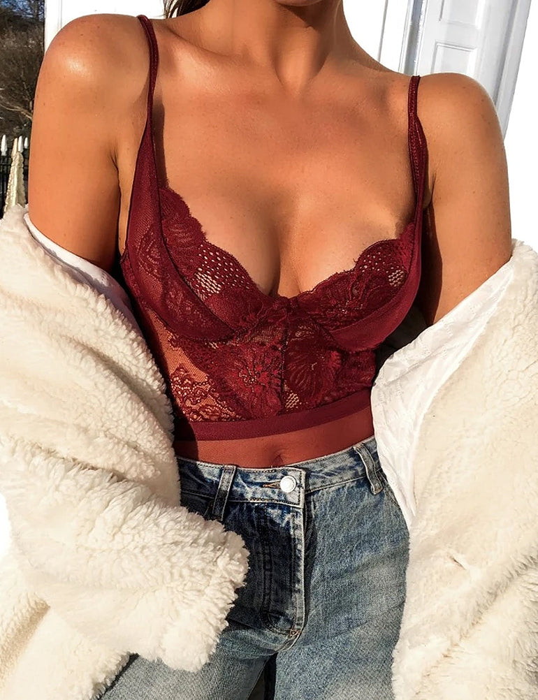 Belle Burgundy Lace Bodysuit