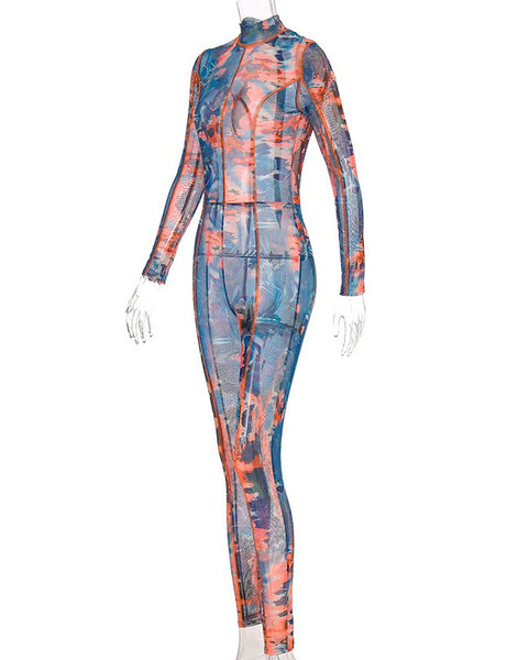 Mesh Print Long Jumpsuit