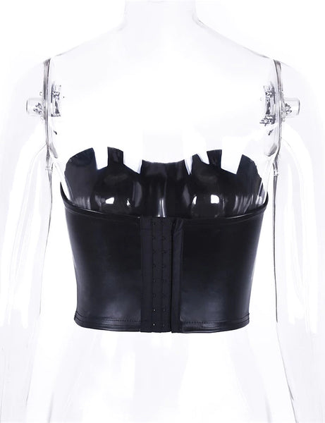 Bella Faux Leather Bust Cup Top