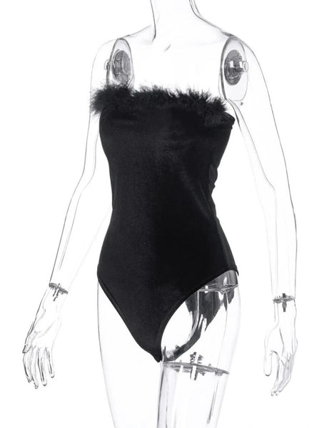 Black Feathers Velveteen Bodysuit