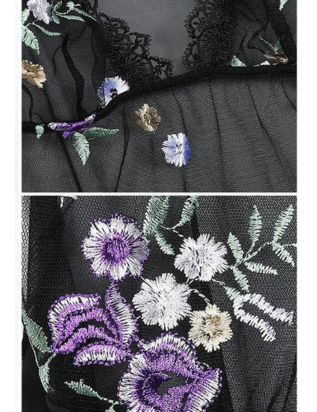 Black Purple Flower Embroidery Bodysuit