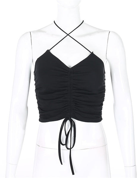 Black Cross Ruched Crop Top
