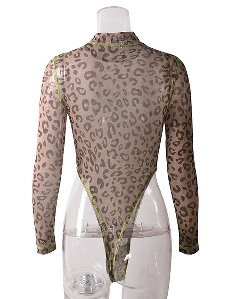 Leopard Mesh High Leg Bodysuit