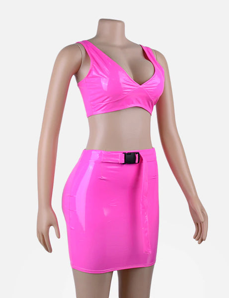 Neon Pink Dream PU Two Piece Co Ord