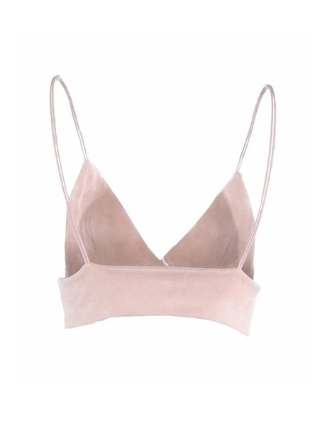 Pink Faux Suede Strappy Bralette