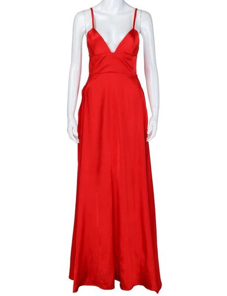 Silky Red Double Slit Maxi Dress