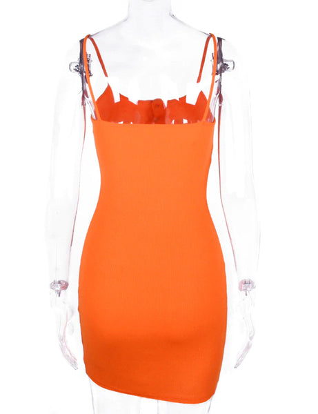 Helena Orange Ribbed Dress