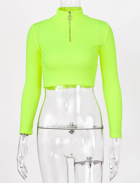 Neon Green Ribbed Turtle Neck Top