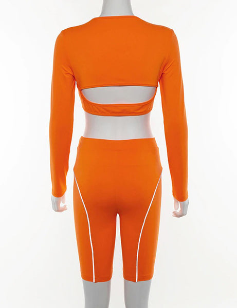 Neon Orange Reflective Tape Hollow Two Piece Co Ord