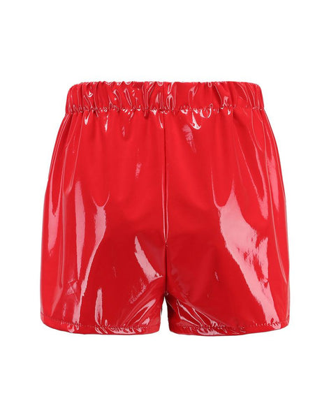 Red Faux Leather Lace Up Shorts