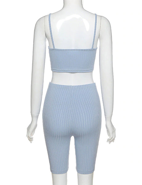 Baby Blue Ribbed Two Piece Co Ord