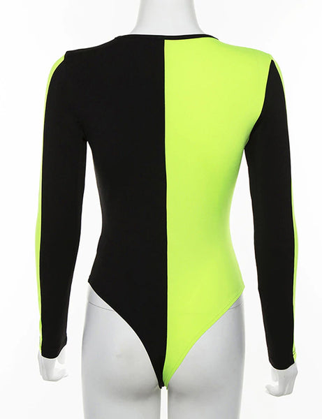 Neon Green and Black Bodysuit