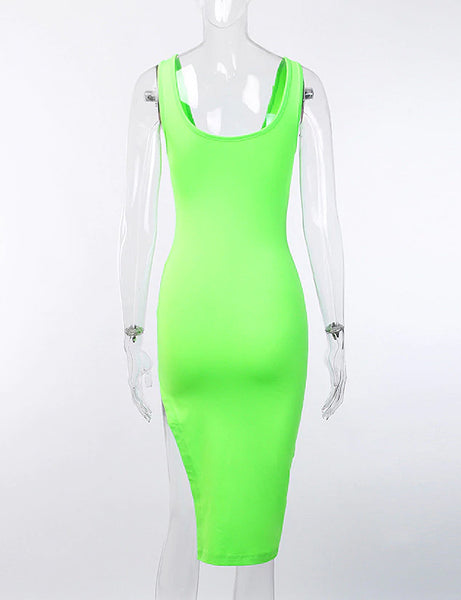 Neon Green Side Slit Midi Dress
