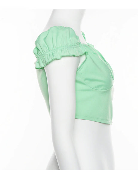 Mint Zipper Crop Top
