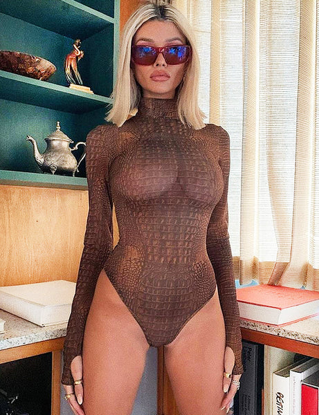 Mesh Animal Print Thumb Hole Bodysuit