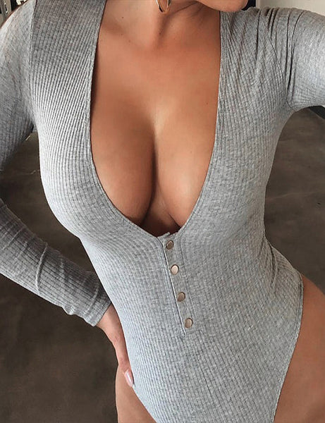 Grey Ribbed Button Up Bodysuit