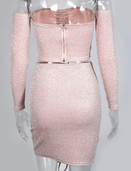 Anne Pink Glitter Ruche Two Piece Co Ord