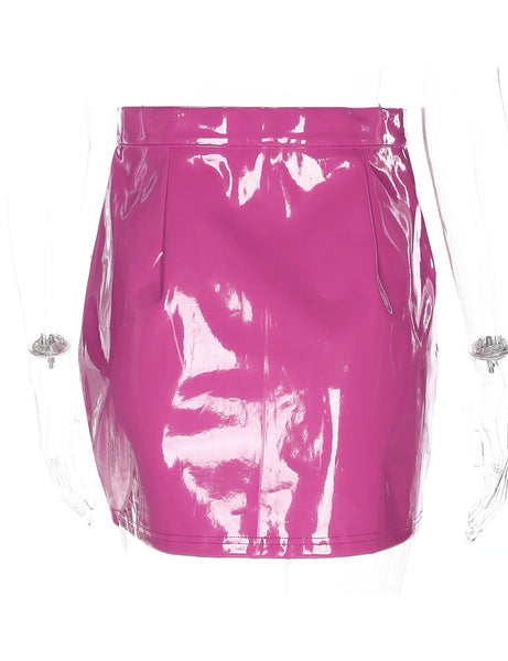 Pink PU Darling Skirt