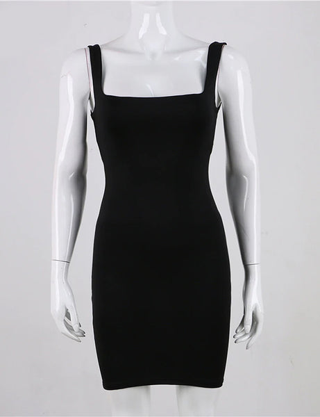 Mia Black Lined Square Neck Dress