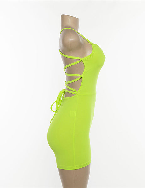 Neon Green Lace Up Back Playsuit