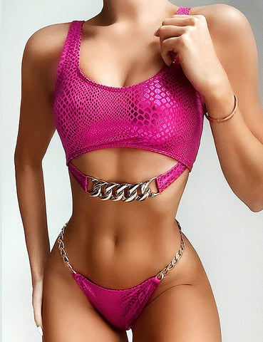 Pink Snake Gold Chain Two Piece Swimsuit